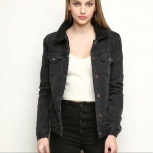 BRANDY MELVILLE; Black Denim Jacket